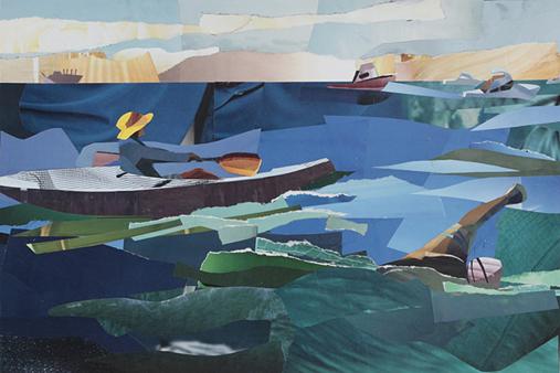 Melbourne artist Rebecca Jones - Artwork - Collage - On track