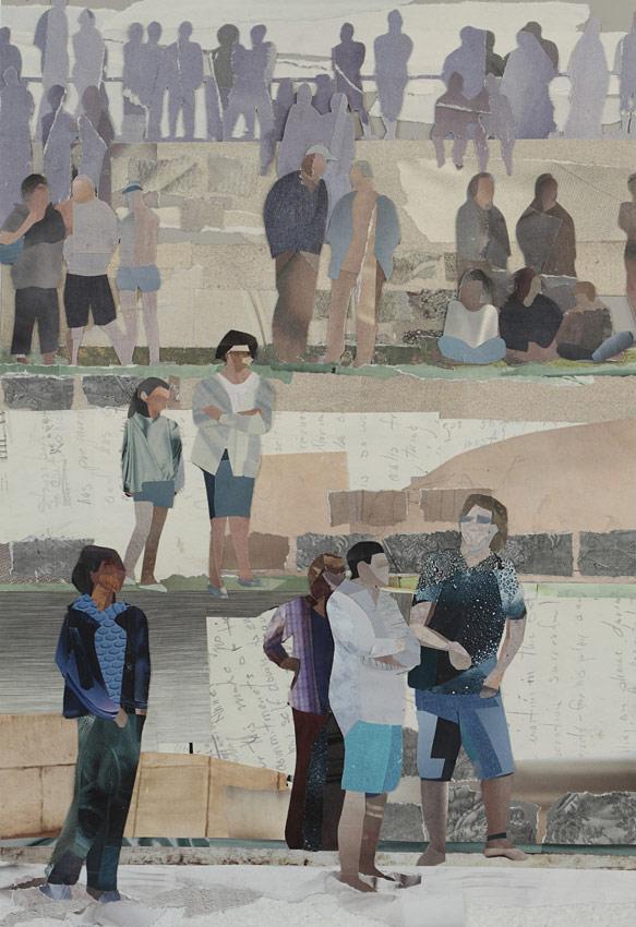 Melbourne artist Rebecca Jones - Artwork - Collage - Spectators