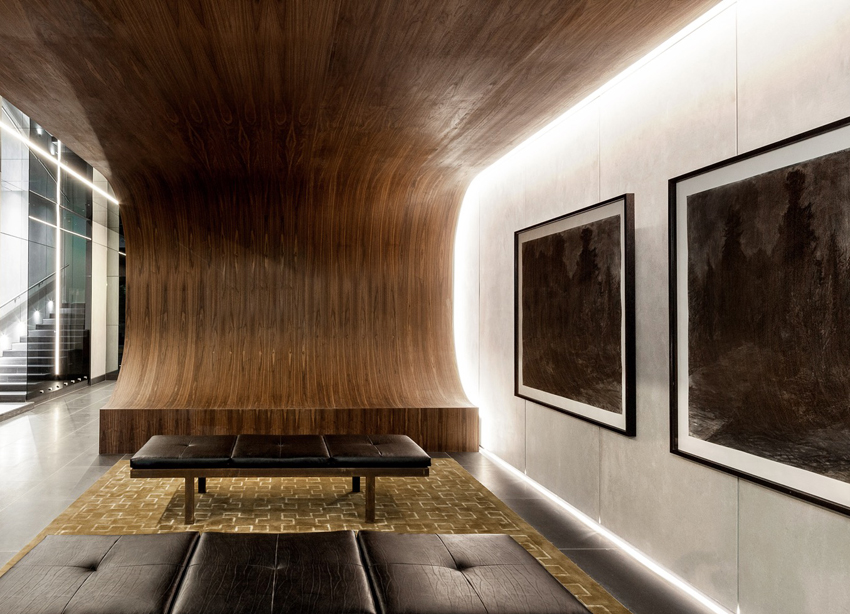 foyer with drawings by Melbourne artist Rebecca Jones