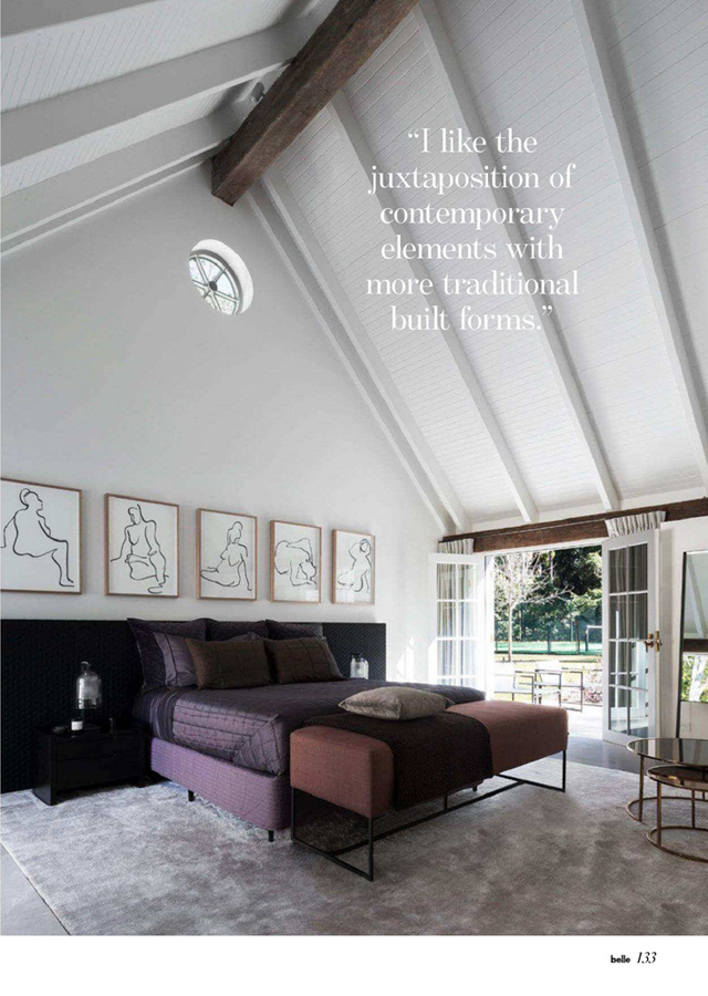 master bedroom with drawings by Melbourne artist Rebecca Jones