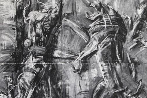 Melbourne artist Rebecca Jones - Artwork - Drawing - Bull Men Contesting Lions