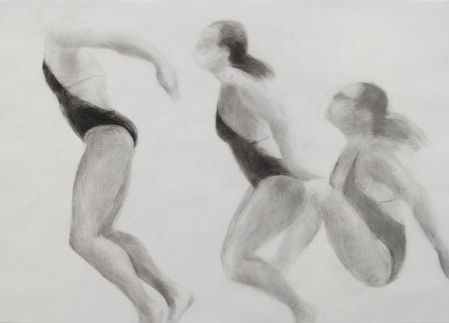Melbourne artist Rebecca Jones - Artwork - Drawing - Swimming - Open Water - Crest