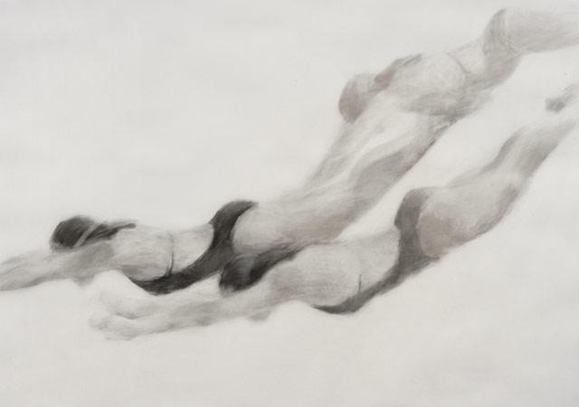 Melbourne artist Rebecca Jones - Artwork - Drawing - Swimming - Open Water - Next Set