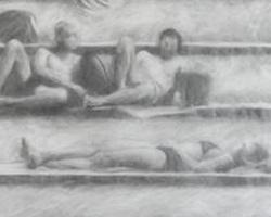 Melbourne artist Rebecca Jones - Artwork - Drawing - By the Pool I