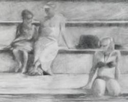 Melbourne artist Rebecca Jones - Artwork - Drawing - By the Pool II
