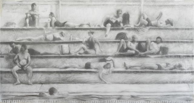 Melbourne artist Rebecca Jones - Artwork - Drawing - Swimming - By the Pool I