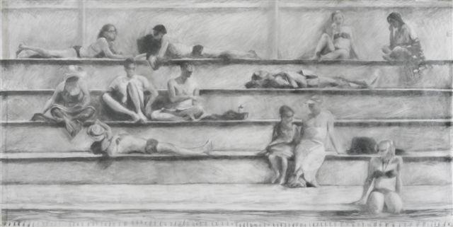 Melbourne artist Rebecca Jones - Artwork - Drawing - Swimming - By the Pool II